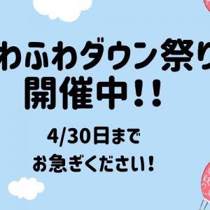 ふわふわダウン祭り開催中です!!